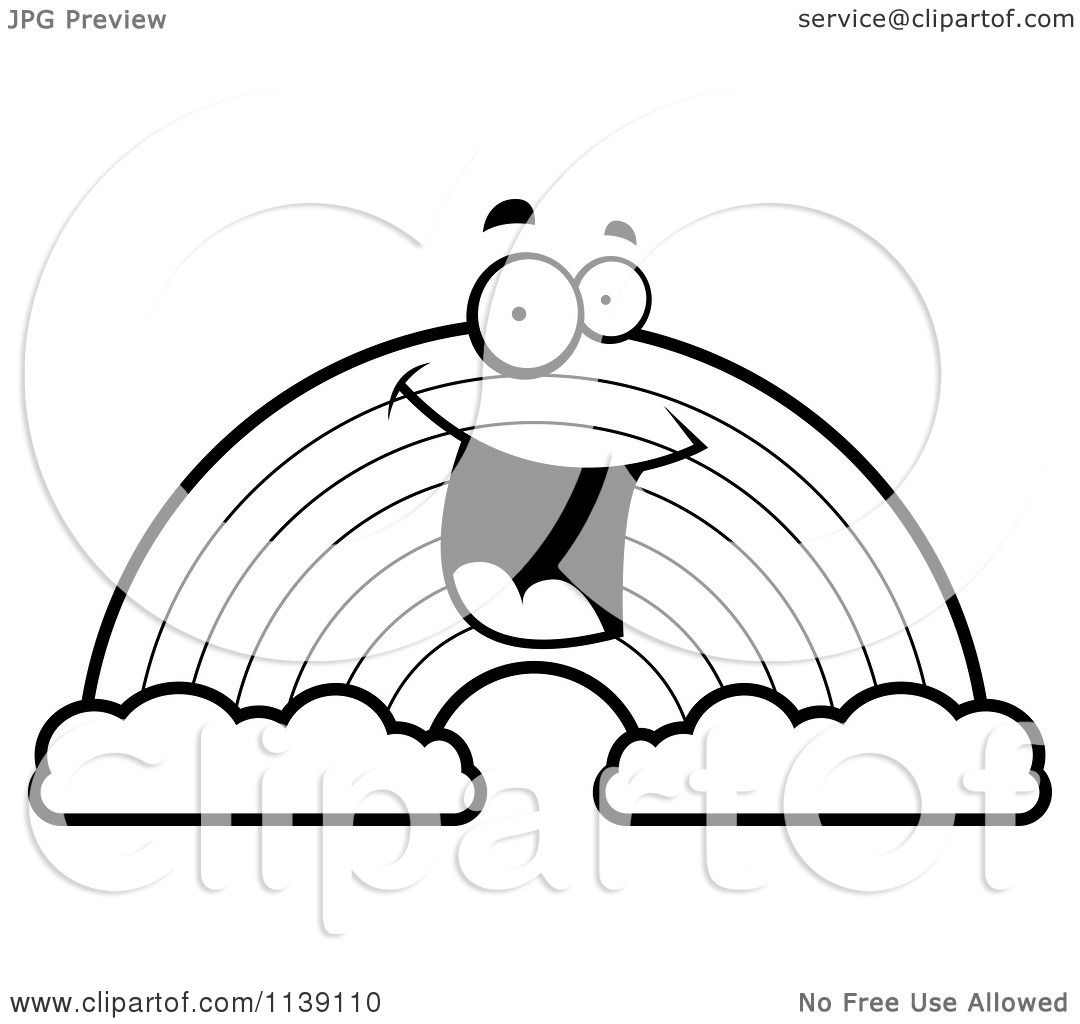 Cartoon Clipart Of A Black And White Happy Rainbow With