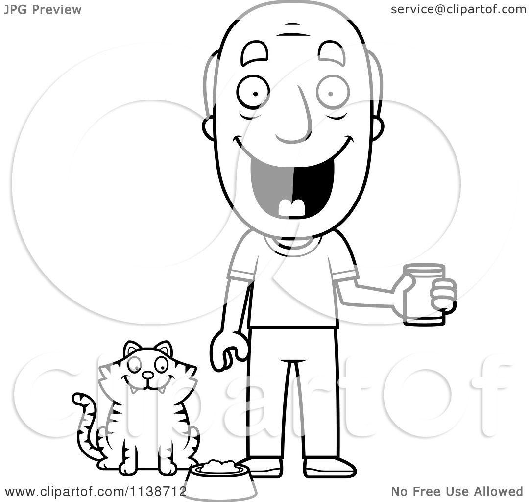 Cartoon Clipart Of A Black And White Happy Senior Man Feeding His Cat