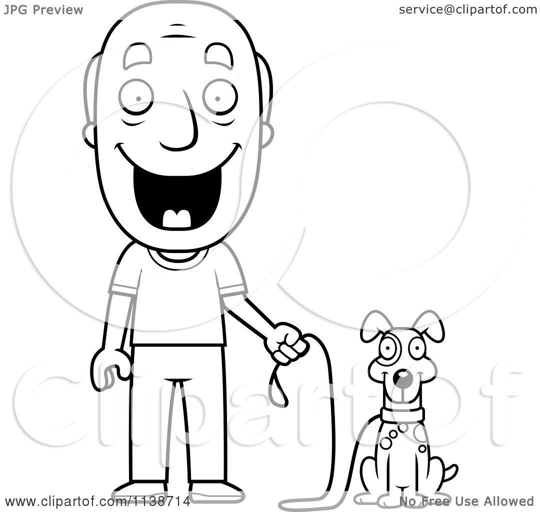 Cartoon Clipart Of A Black And White Happy Senior Man Ready To Walk His Dog