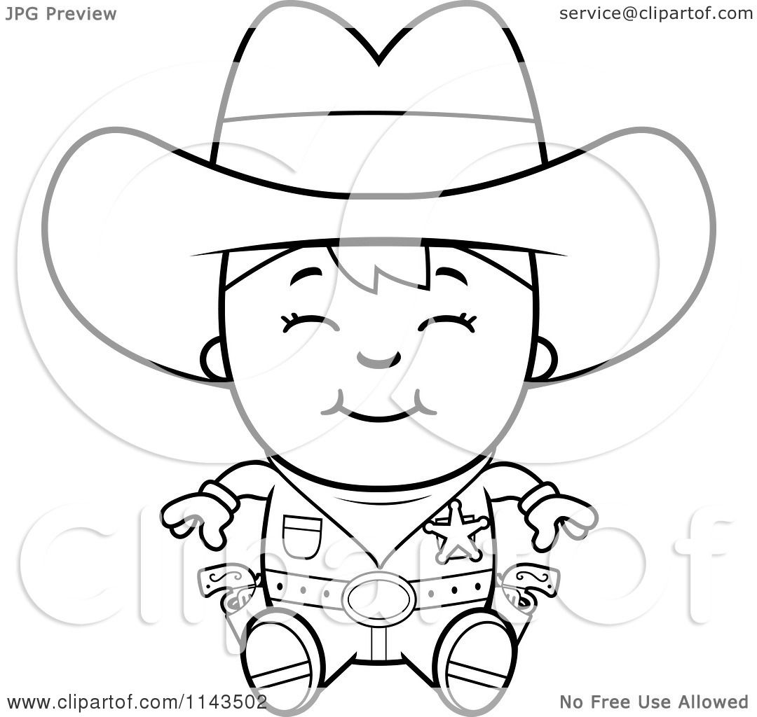 Cartoon Clipart Of A Black And White Happy Sheriff Cowboy