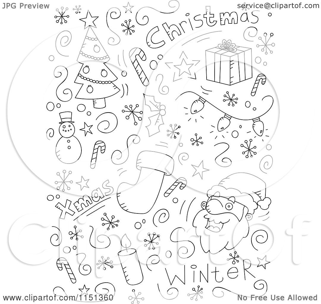 Cartoon Clipart Of A Black And White Holiday Doodle