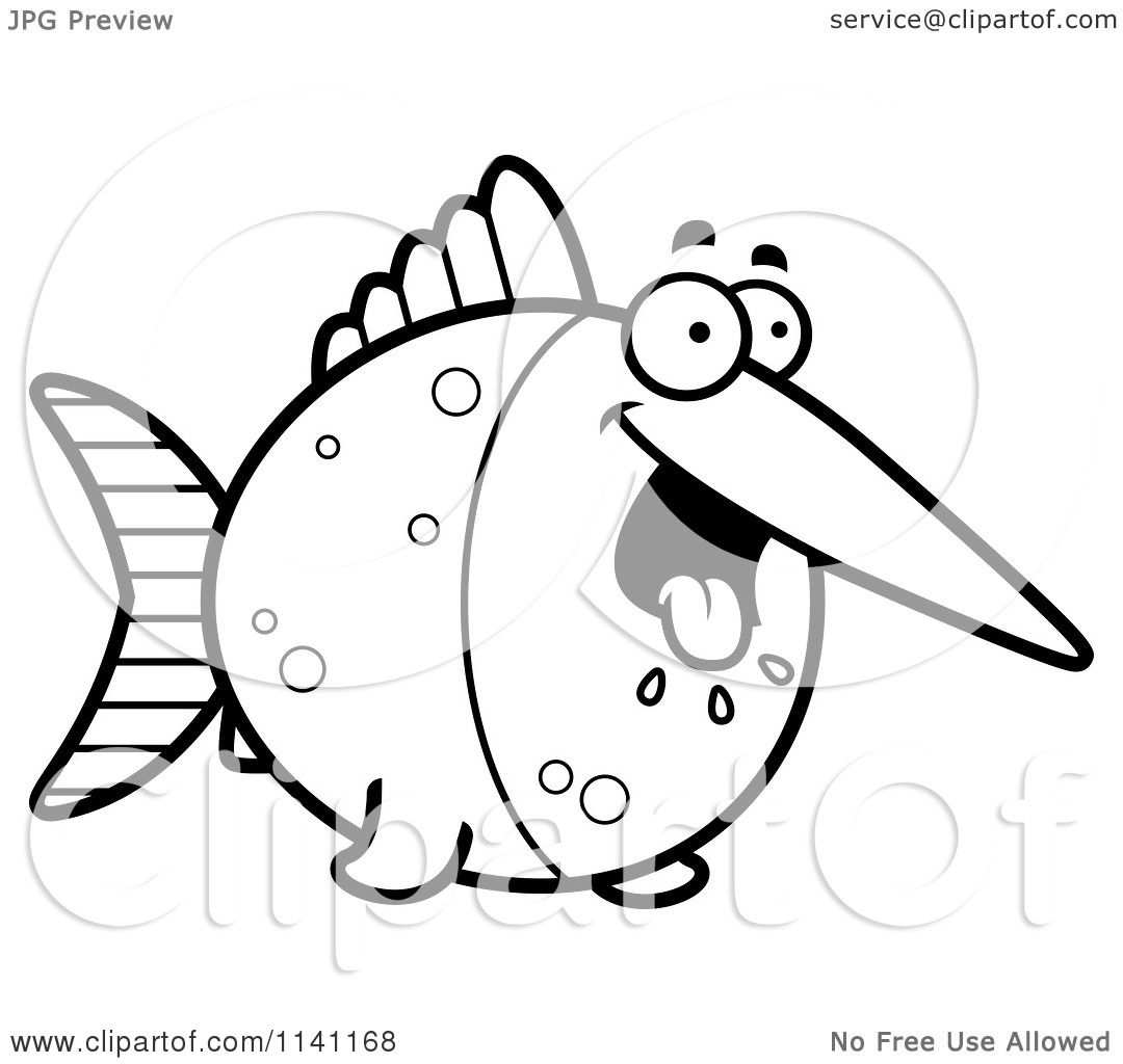 Cartoon Clipart Of A Black And White Hungry Swordfish