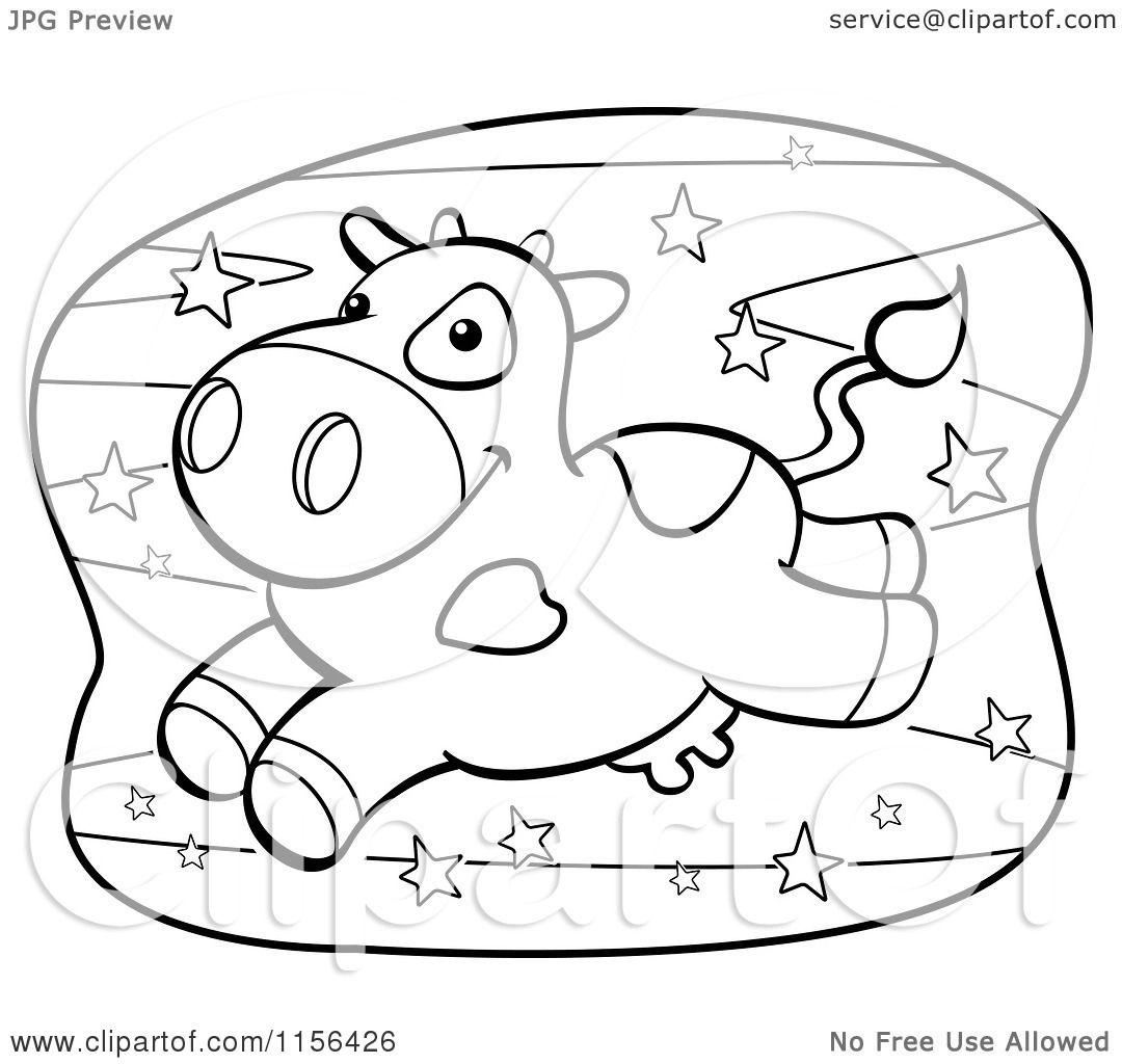 Cartoon Clipart Of A Black And White Leaping Cow Over The Stars