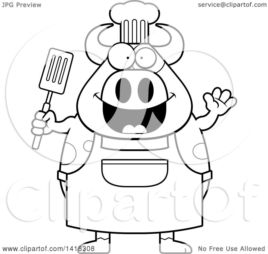 Cartoon Clipart Of A Black And White Lineart Chef Cow