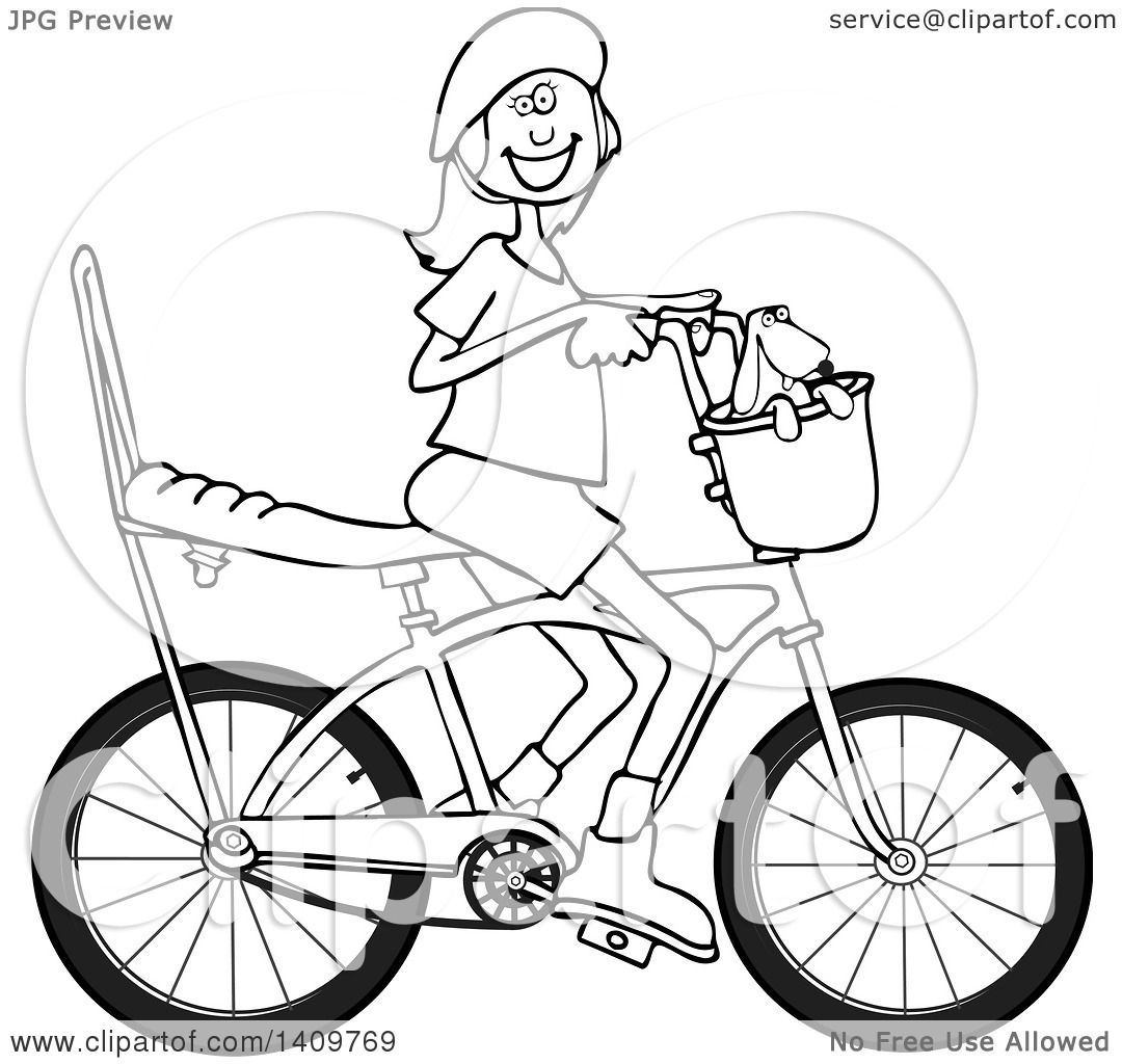 Cartoon Clipart Of A Black And White Lineart Happy Girl
