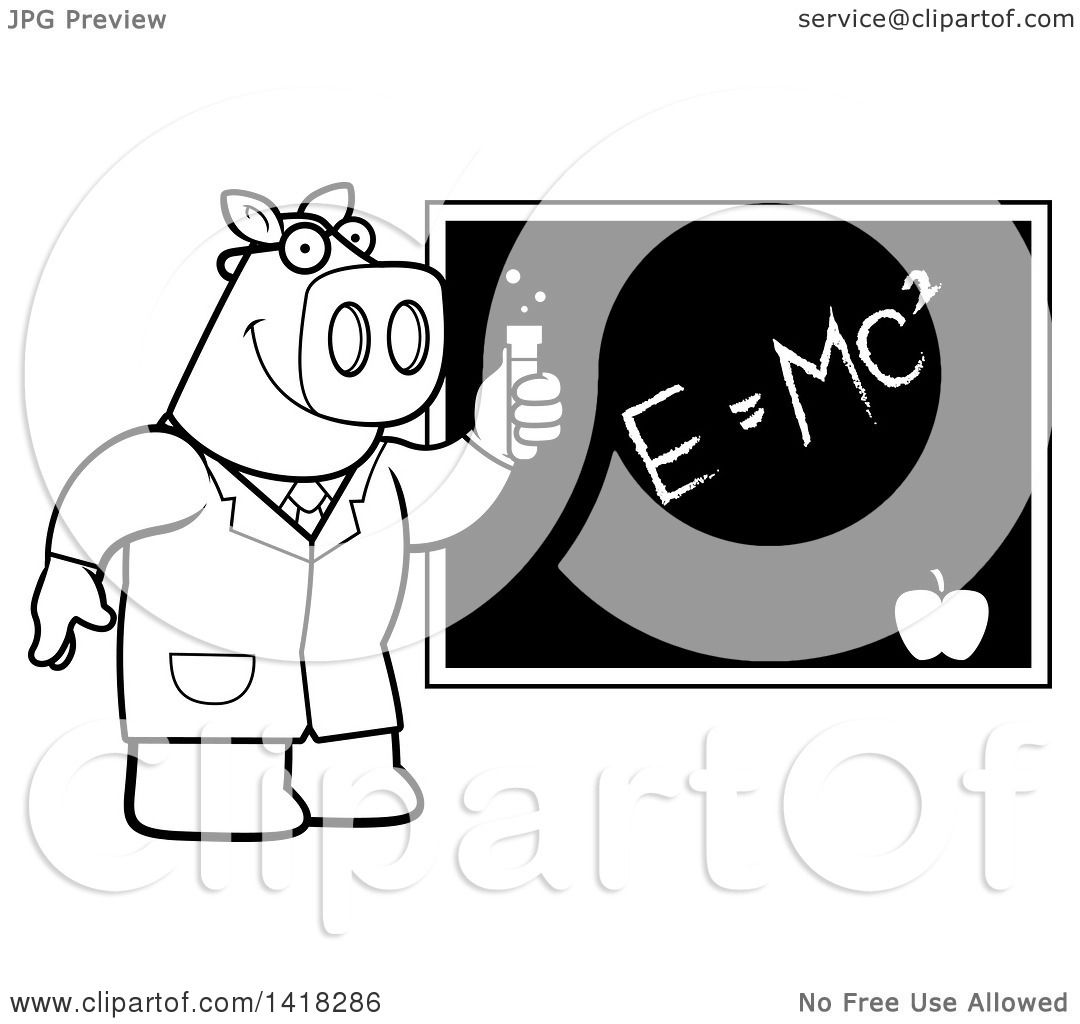 Cartoon Clipart Of A Black And White Lineart Professor Or