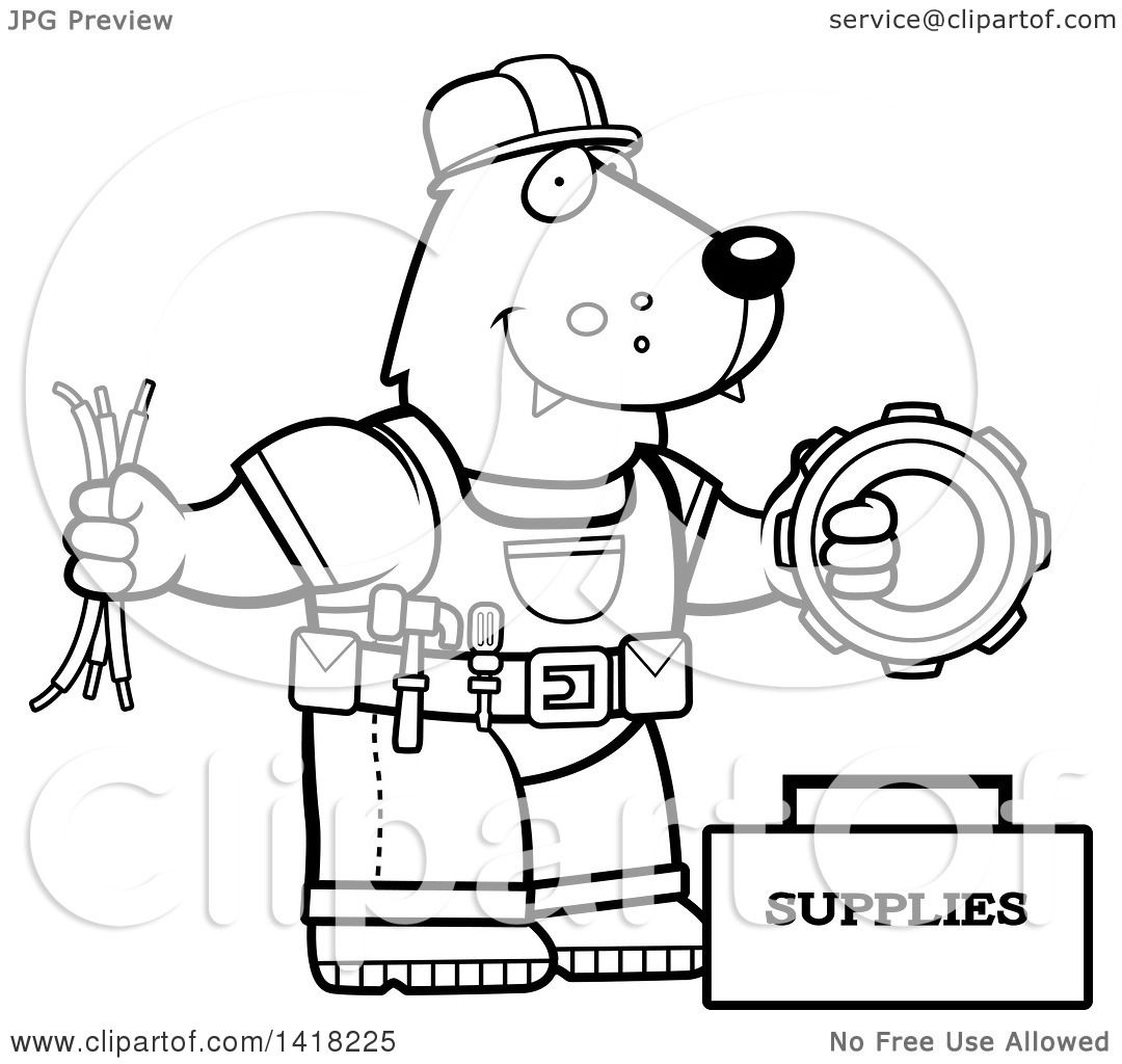 Cartoon Clipart Of A Black And White Lineart Wolf