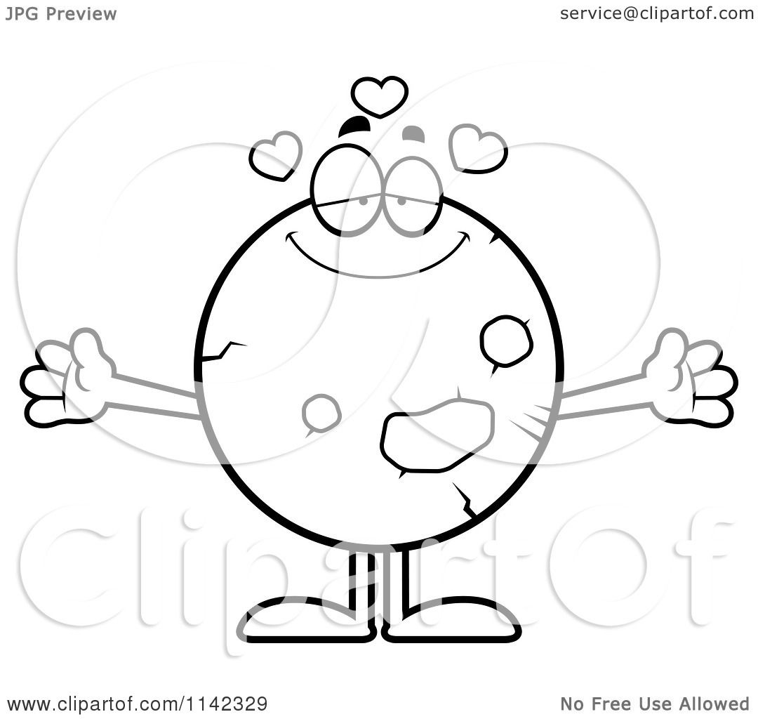 Cartoon Clipart Of A Black And White Loving Planet Mars