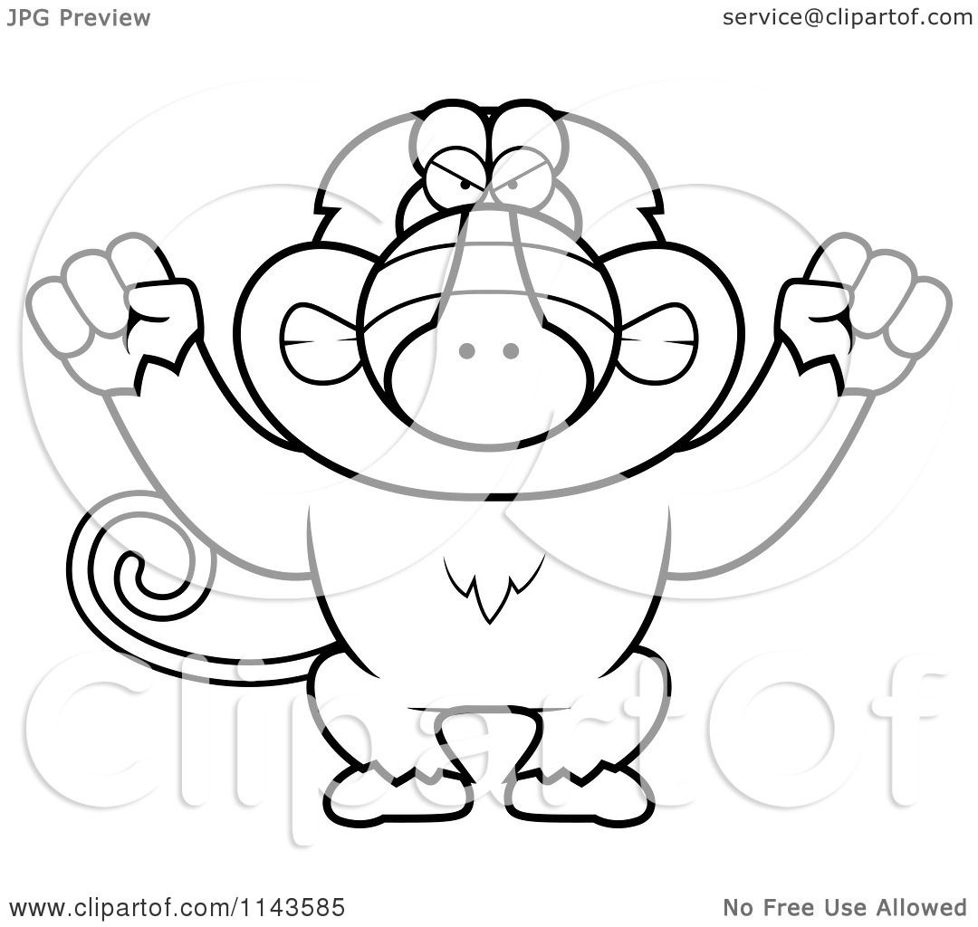 Cartoon Clipart Of A Black And White Mad Baboon Monkey