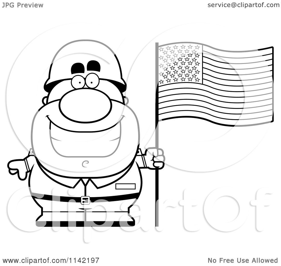 Cartoon Clipart Of A Black And White Male Army Sol R With An American Flag