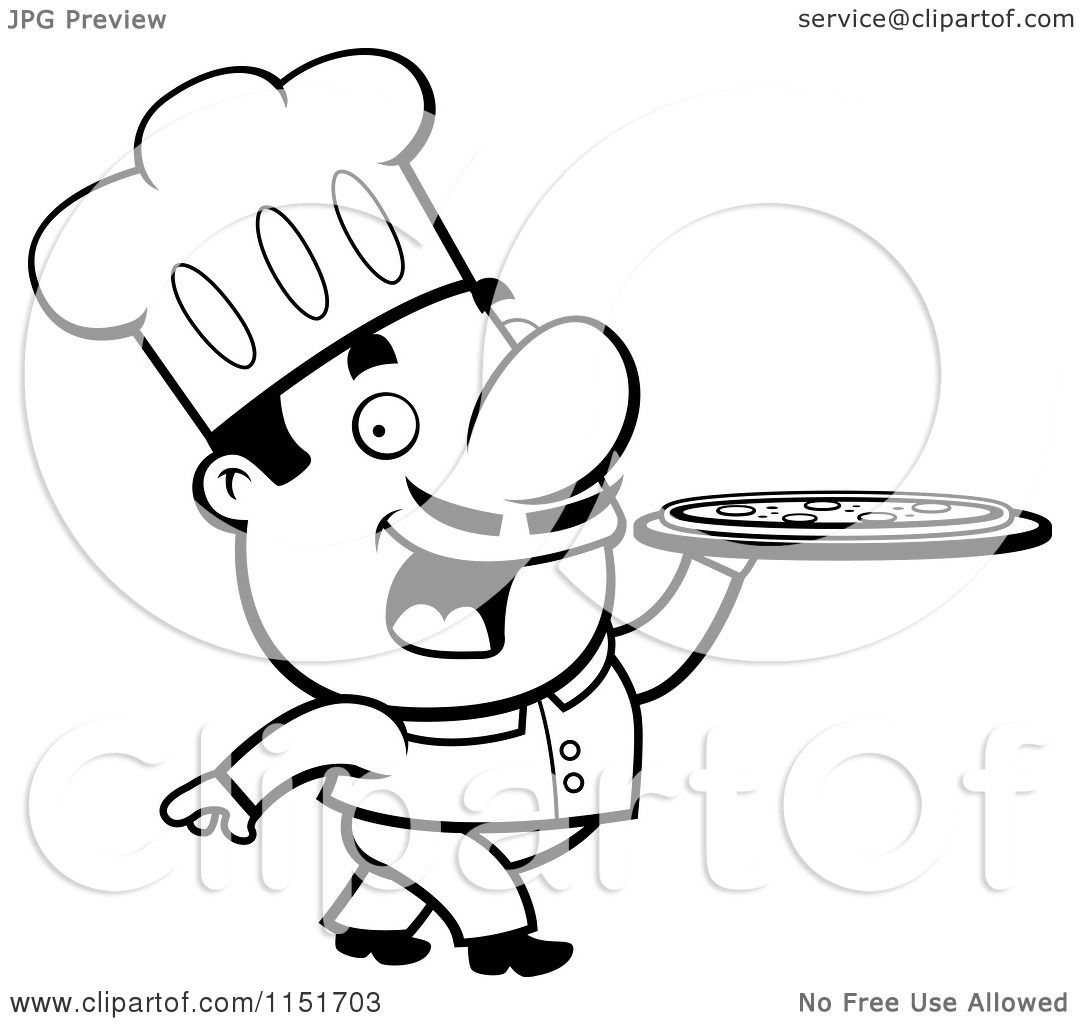 Cartoon Clipart Of A Black And White Pizzeria Chef Walking