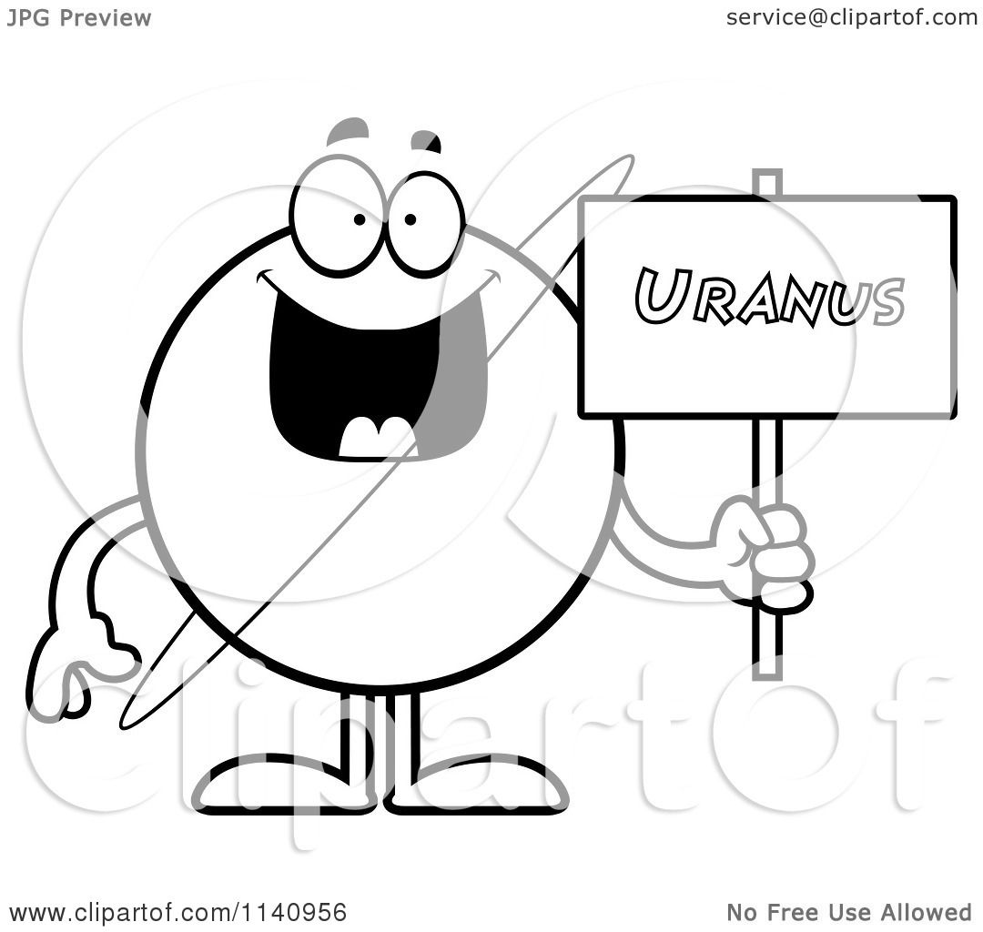 Cartoon Clipart Of A Black And White Pla Uranus Holding A Sign