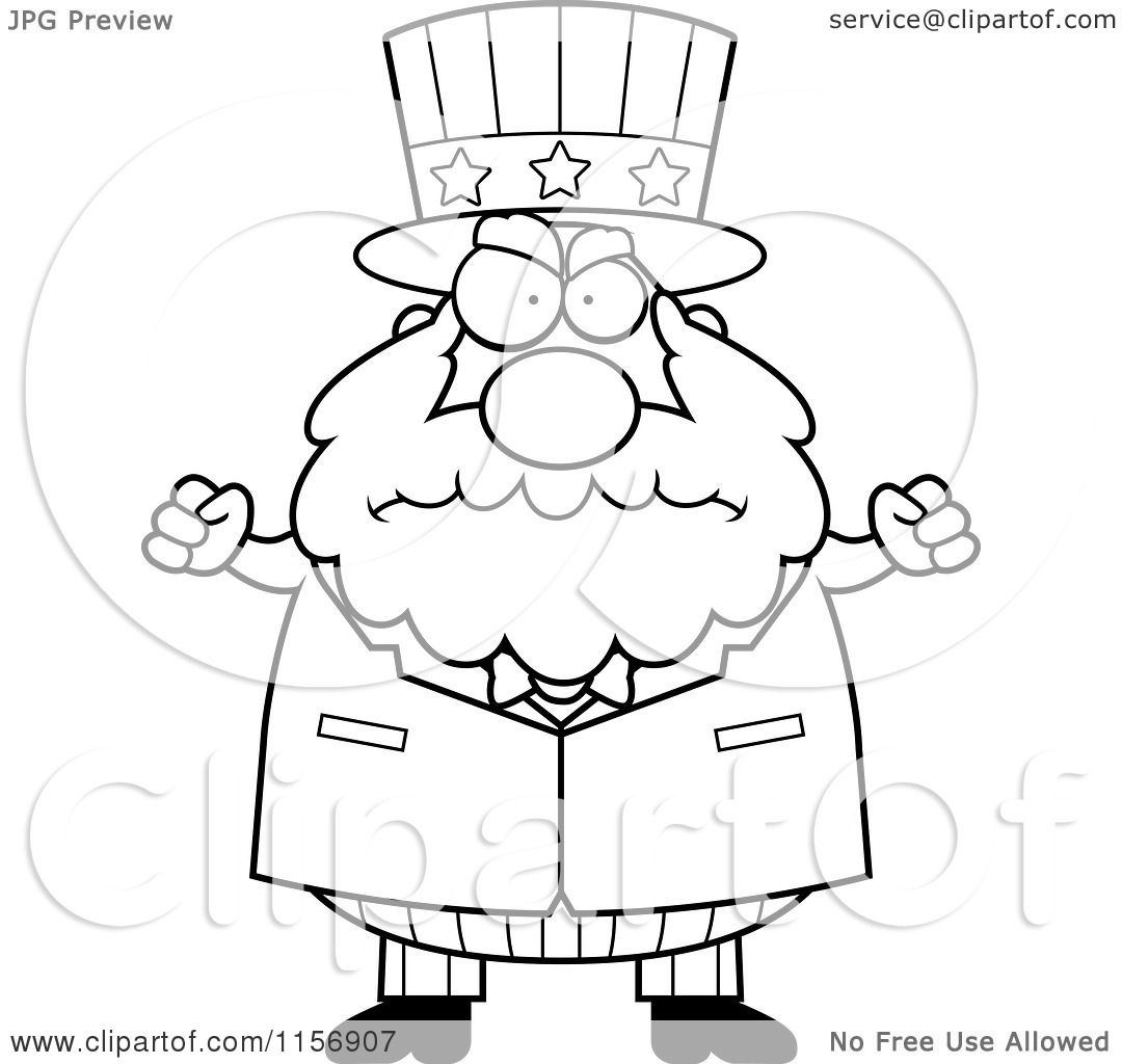 Cartoon Clipart Of A Black And White Plump Old Uncle Sam