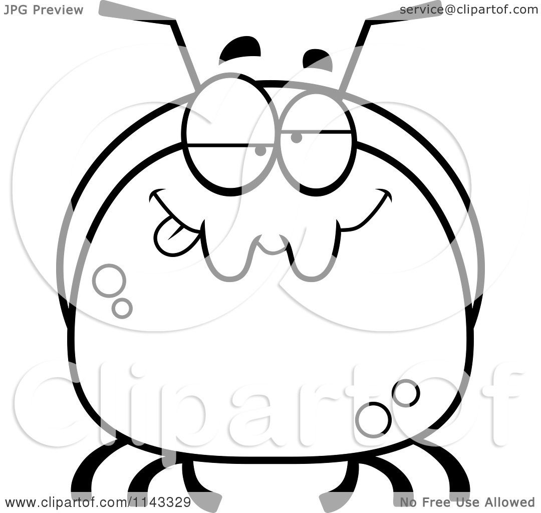 Cartoon Clipart Of A Black And White Pudgy Goofy Or Drunk