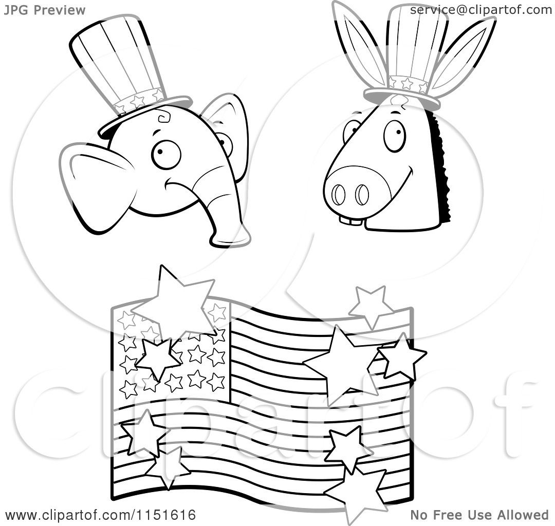 Cartoon Clipart Of A Black And White Republican Elephant Democratic Donkey And American Flag