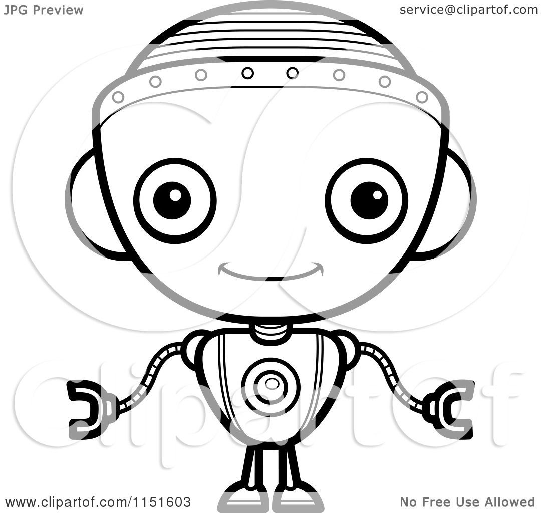 Cartoon Clipart Of A Black And White Robot Girl Facing