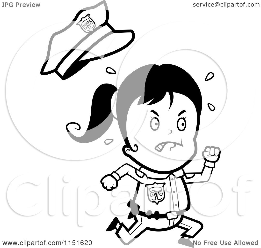 Cartoon Clipart Of A Black And White Running Police Girl