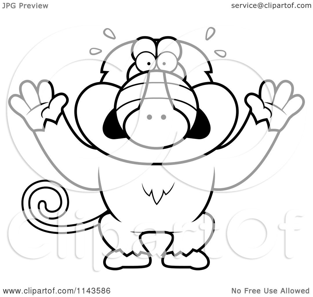Cartoon Clipart Of A Black And White Scared Baboon Monkey