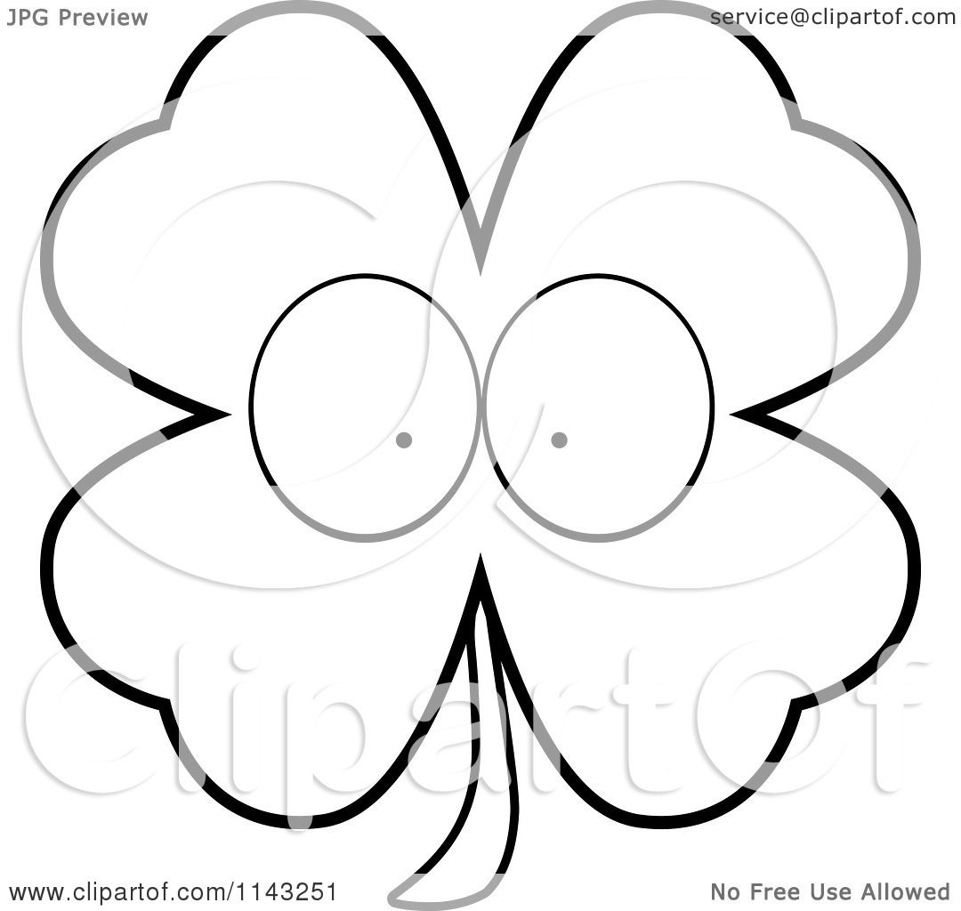 Cartoon Clipart Of A Black And White Shamrock Character