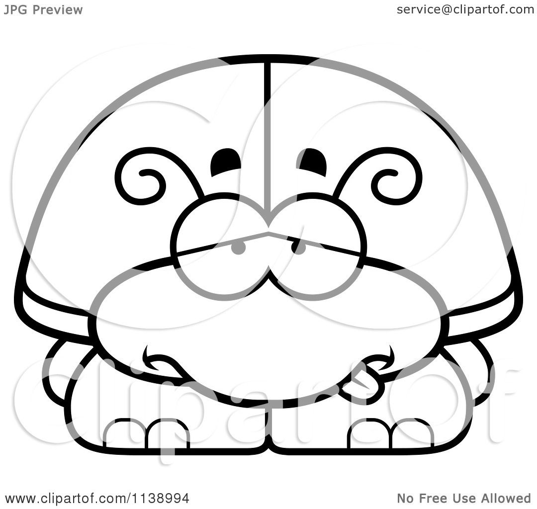 Cartoon Clipart Of A Black And White Sick Beetle