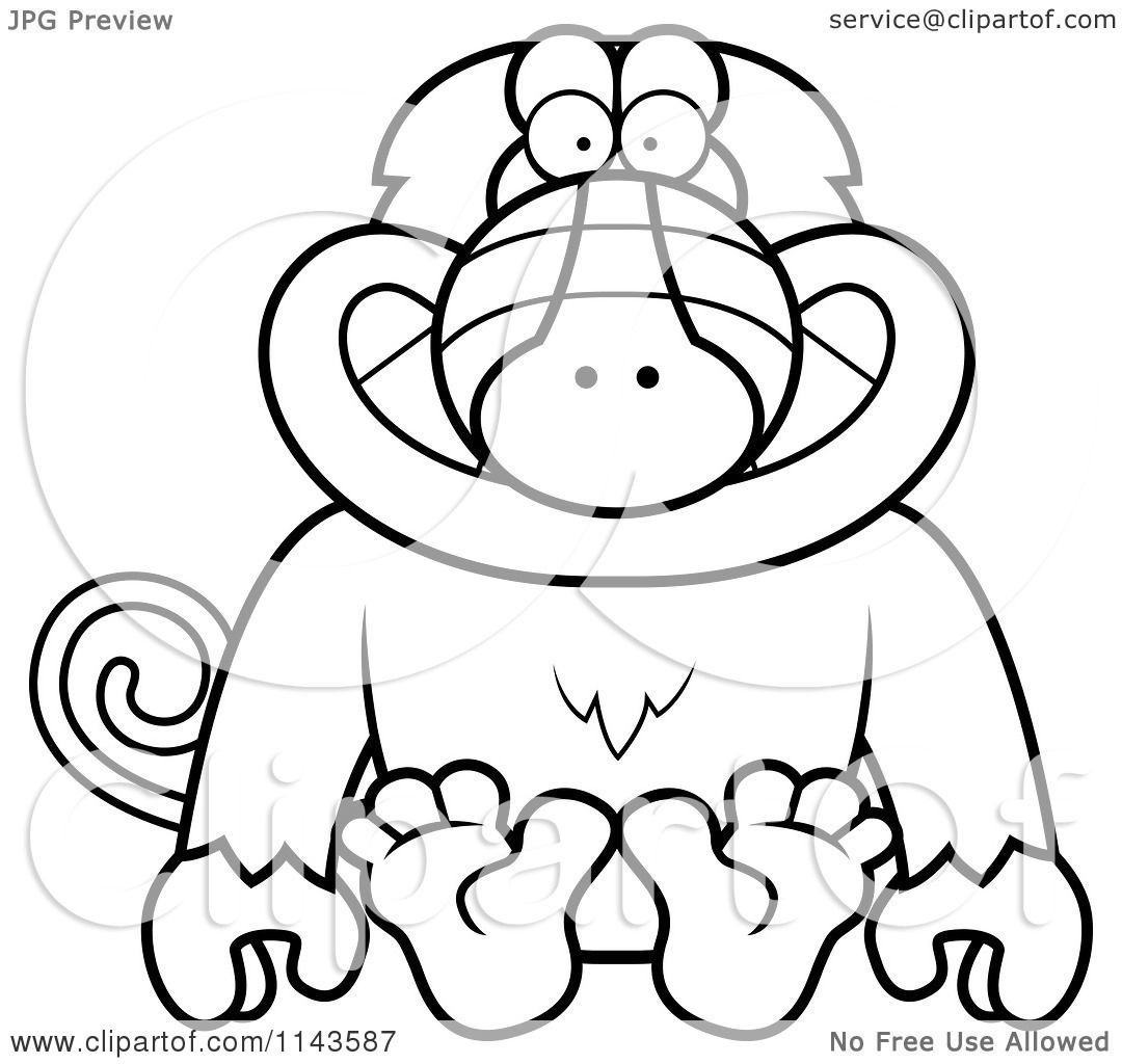 Cartoon Clipart Of A Black And White Sitting Baboon Monkey