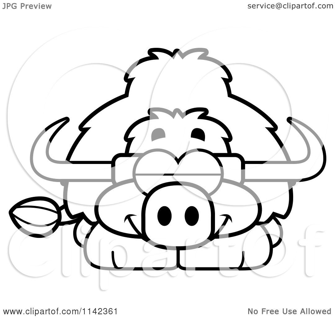 Cartoon Clipart Of A Black And White Sleeping Yak