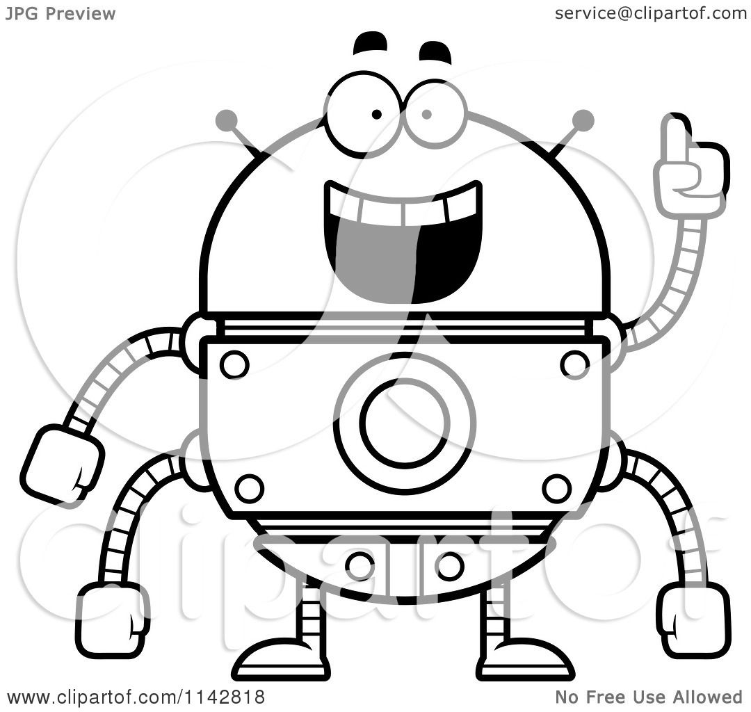 Cartoon Clipart Of A Black And White Smart Robot