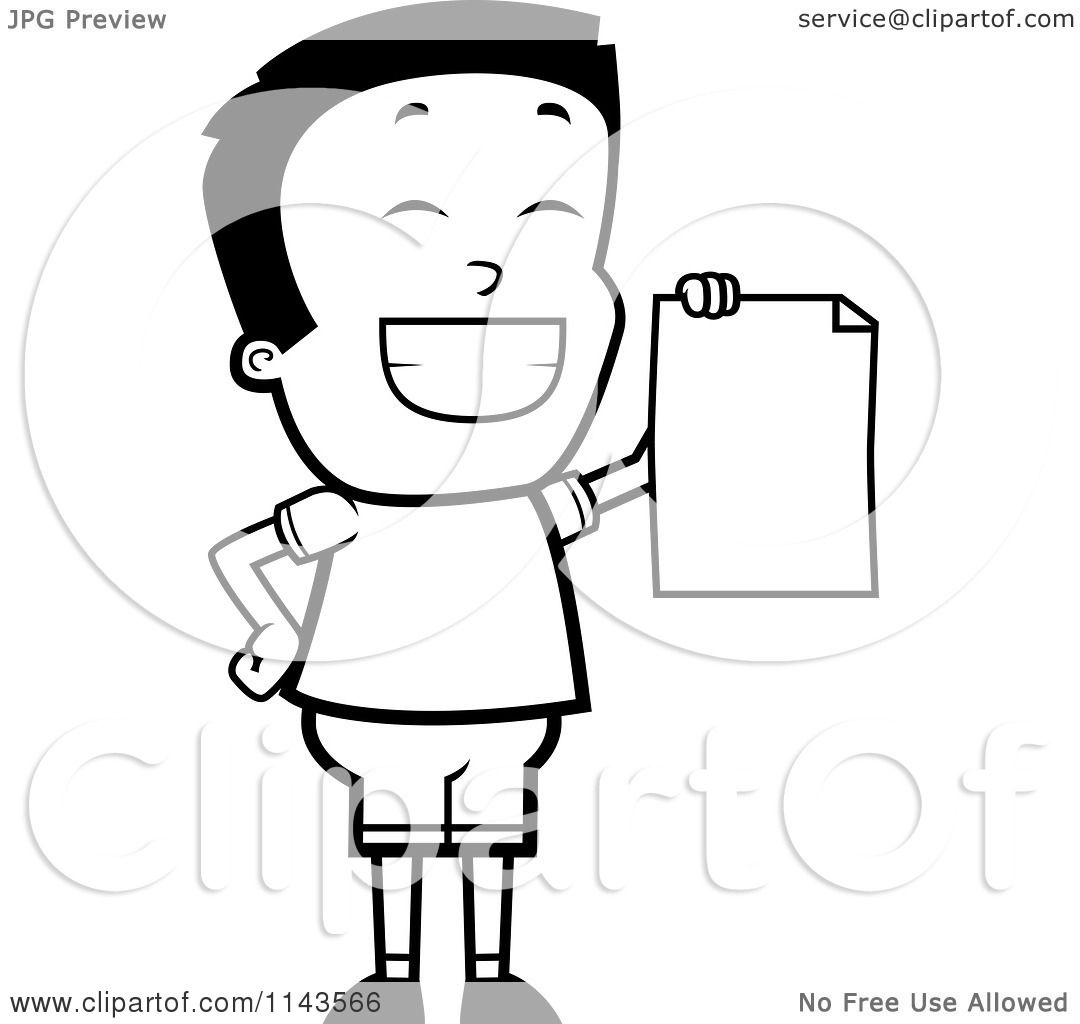 Cartoon Clipart Of A Black And White Smart School Boy Presenting His Report Card
