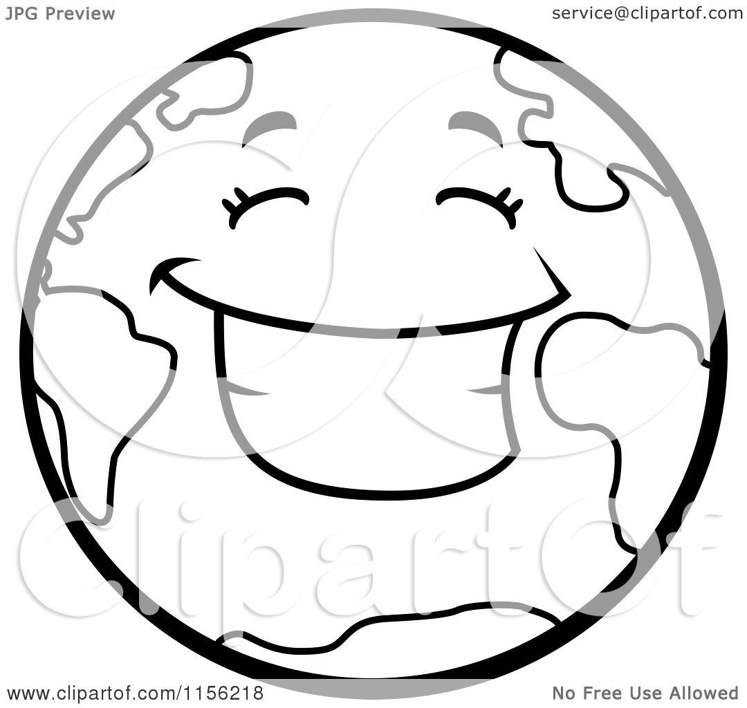 Cartoon Clipart Of A Black And White Smiling Happy Earth