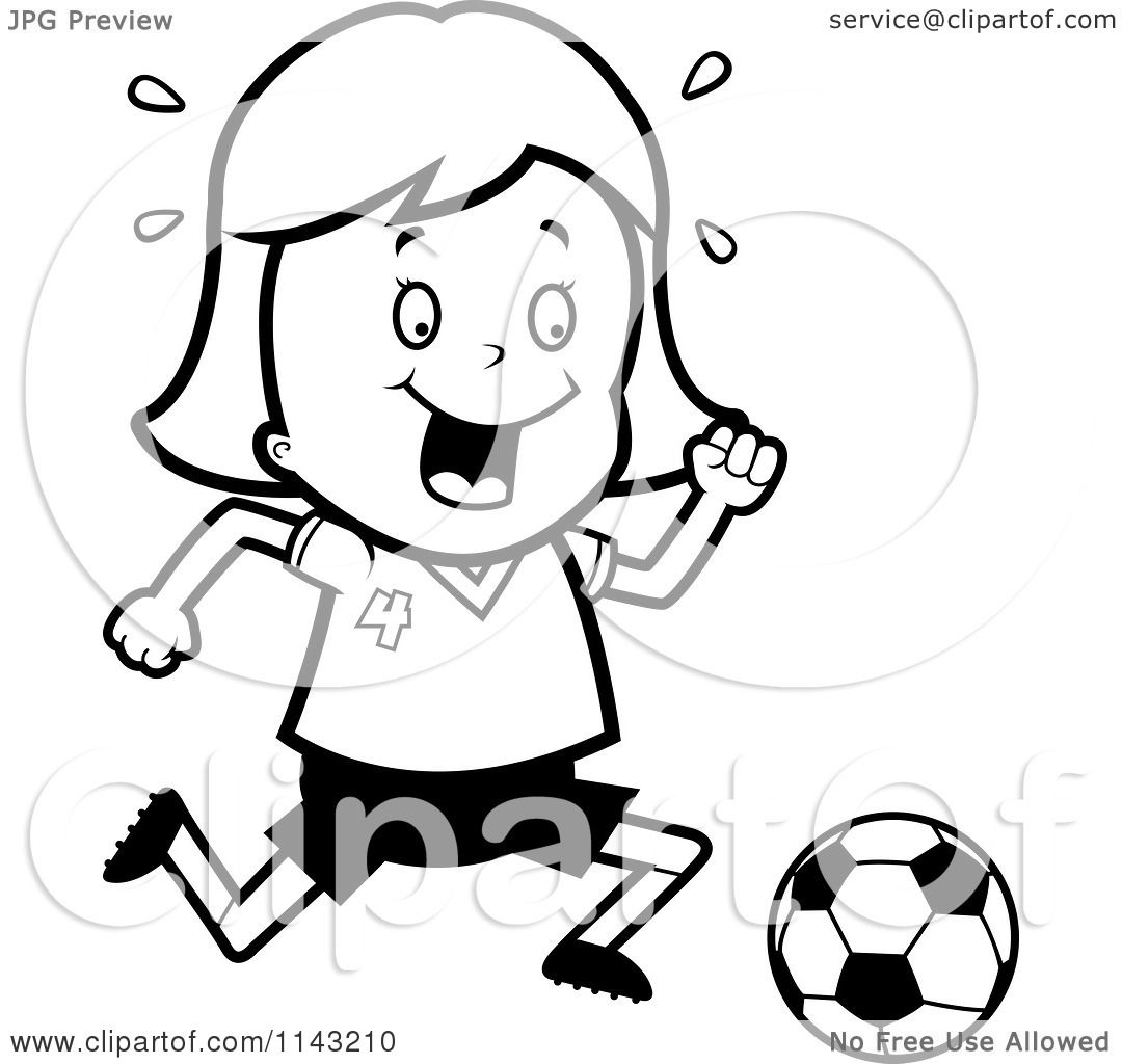 Cartoon Clipart Of A Black And White Soccer Girl Running