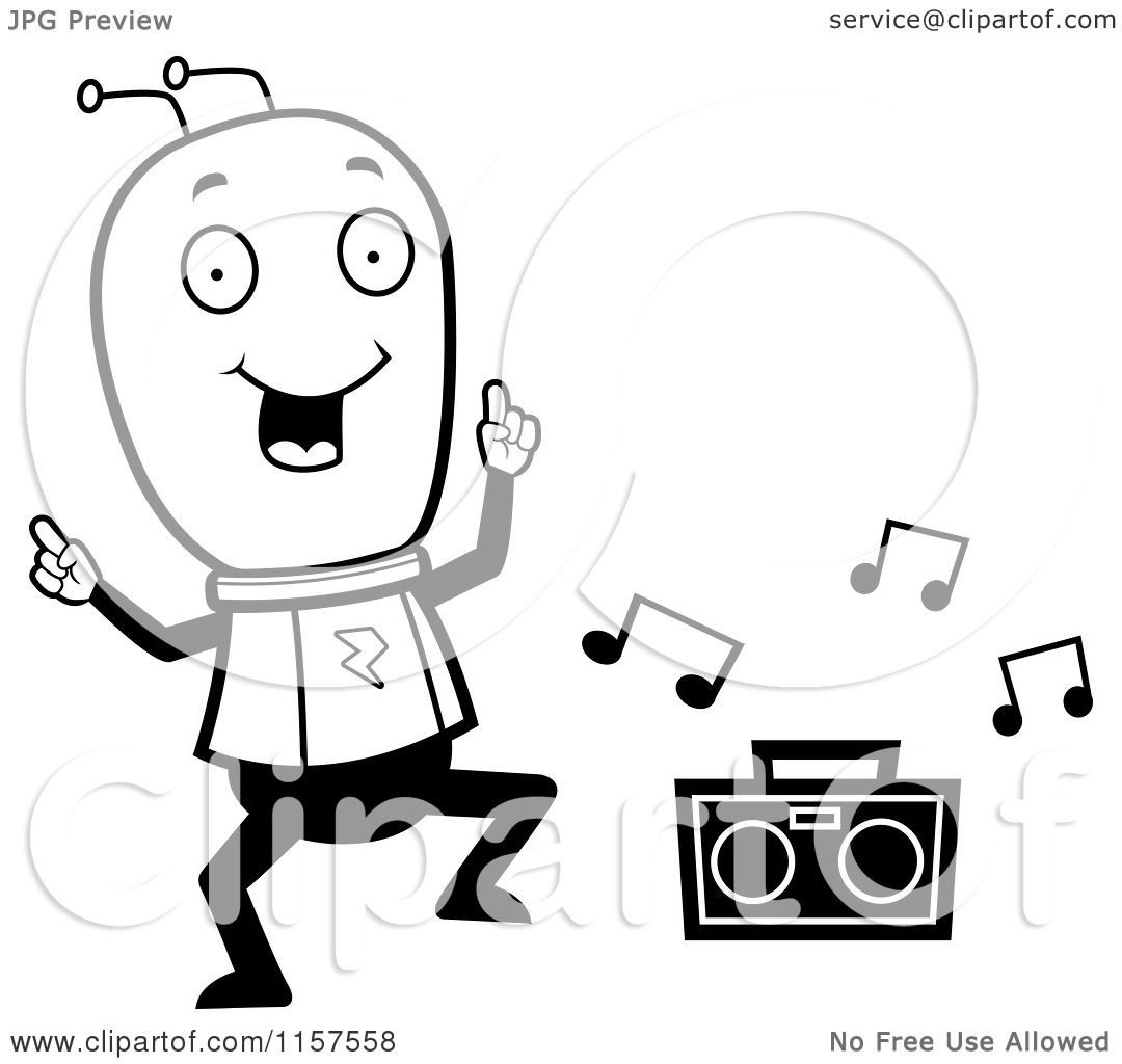 Cartoon Clipart Of A Black And White Space Alien Dancing To Music