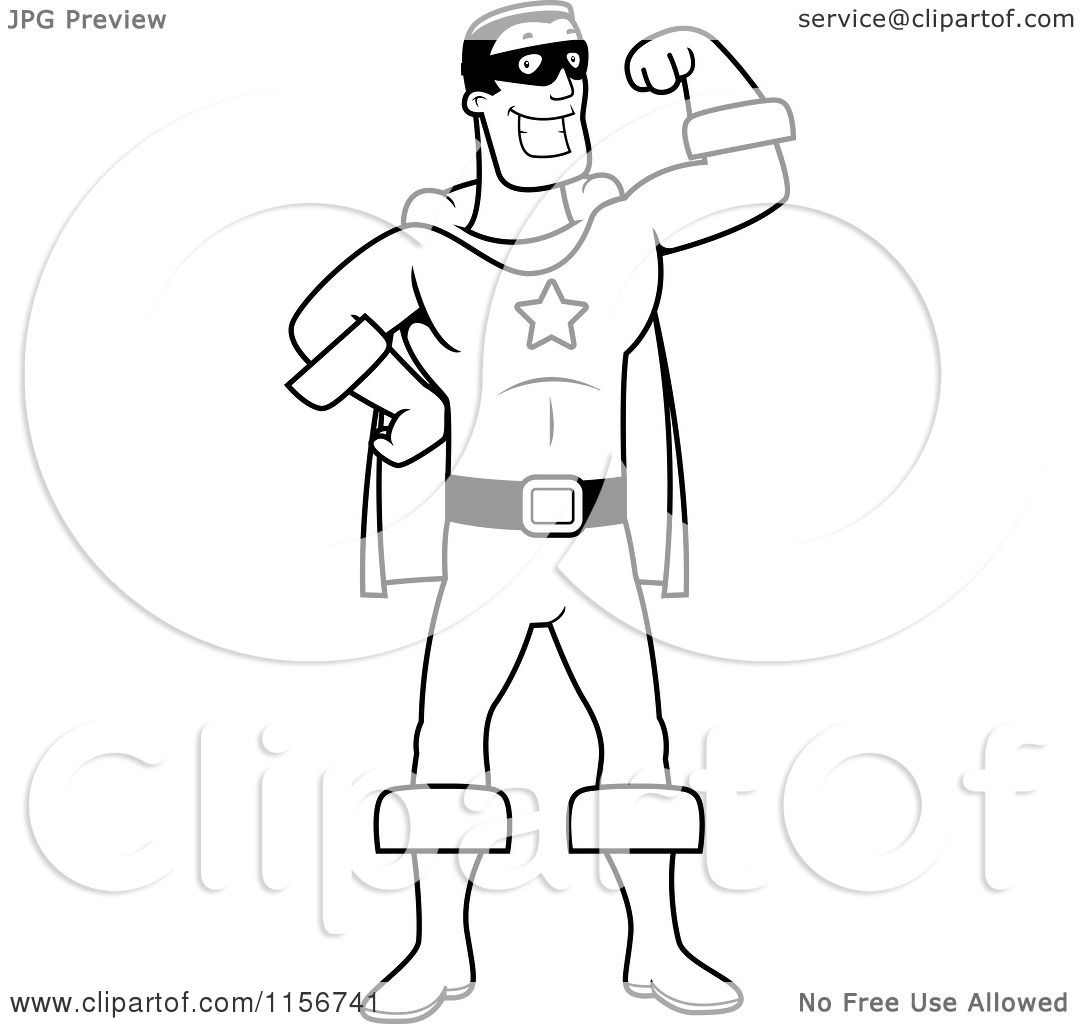 Cartoon Clipart Of A Black And White Super Hero Flexing One Arm