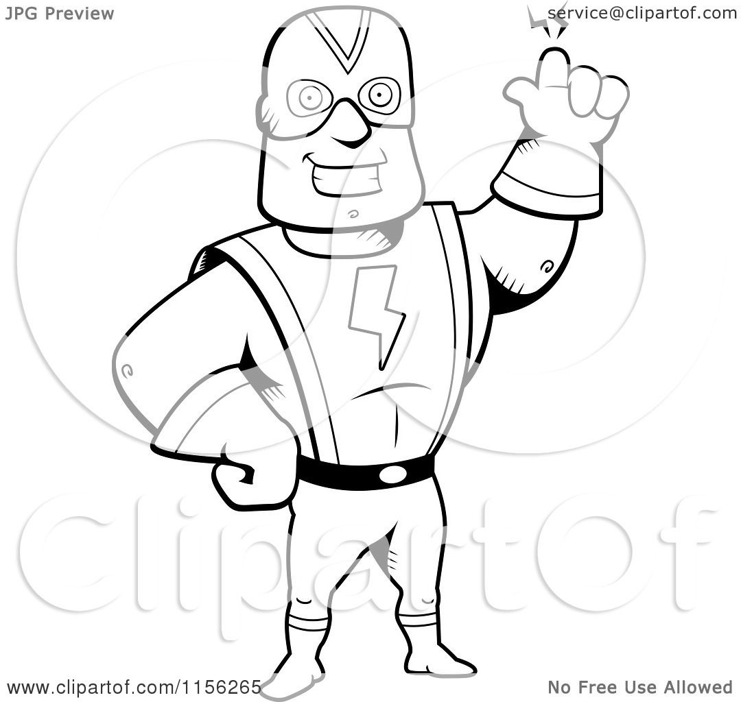 Cartoon Clipart Of A Black And White Super Hero Waving