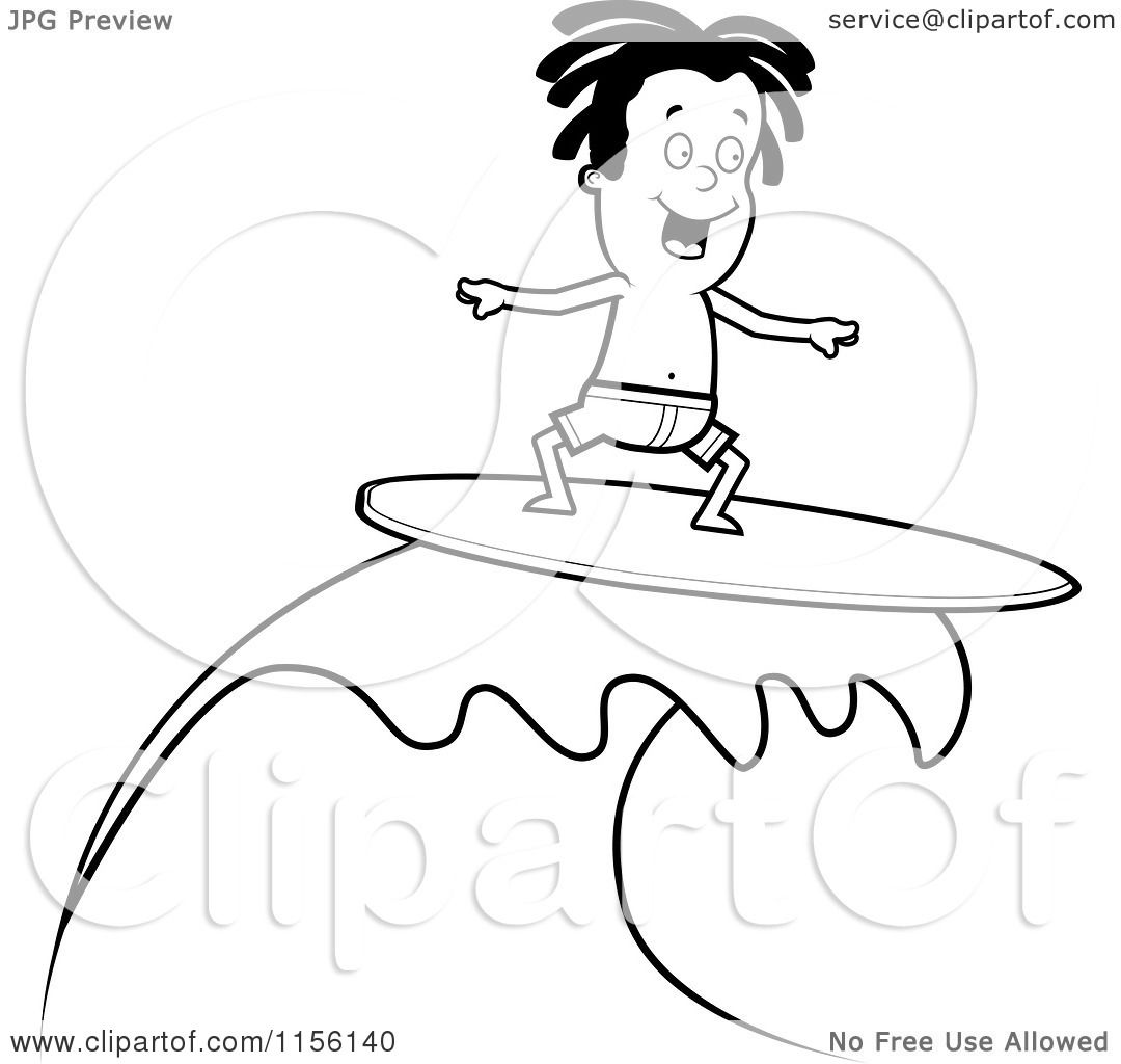 Cartoon Clipart Of A Black And White Surfer Dude Riding A