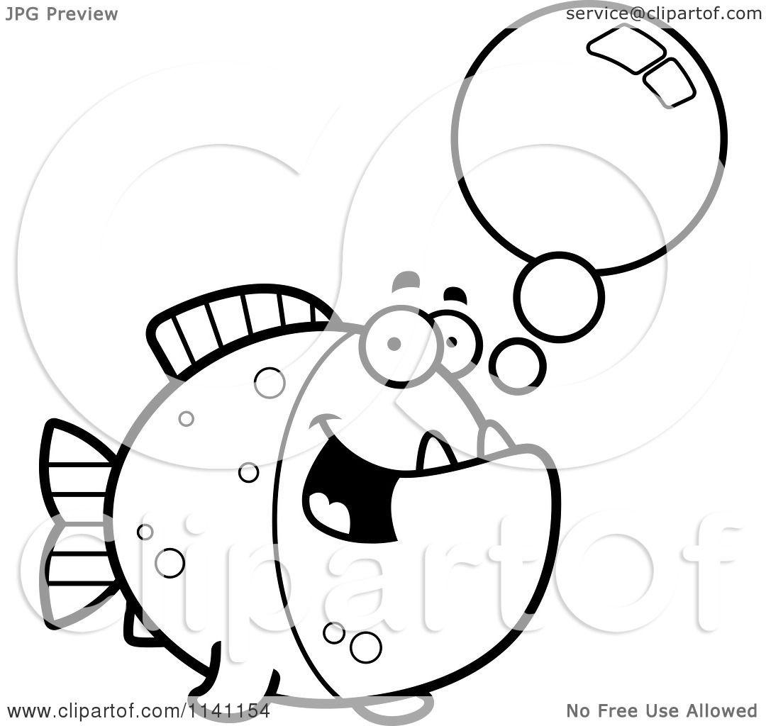 Cartoon Clipart Of A Black And White Talking Piranha Fish