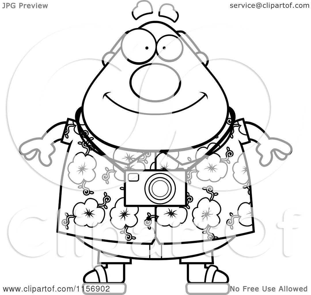 Cartoon Clipart Of A Black And White Tourist Man