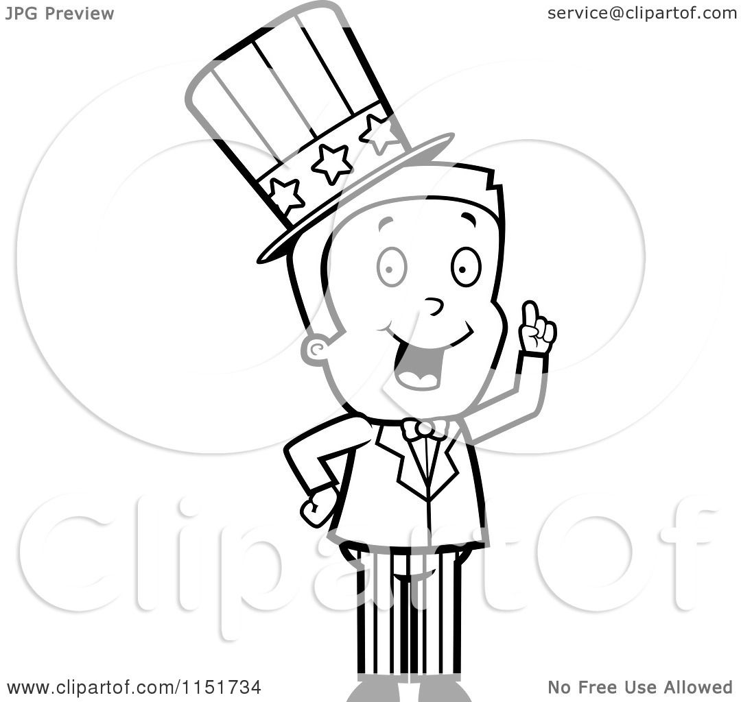 Cartoon Clipart Of A Black And White Uncle Sam Boy Character In A Patriotic Suit