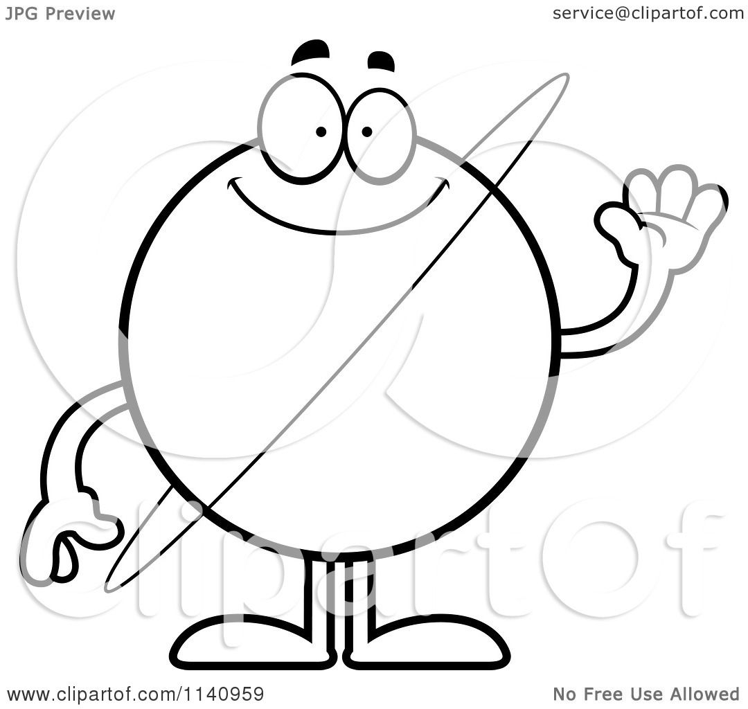 Cartoon Clipart Of A Black And White Waving Planet Ur