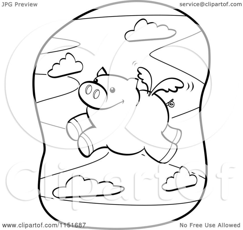 cartoon clipart of a black and white winged pig flying