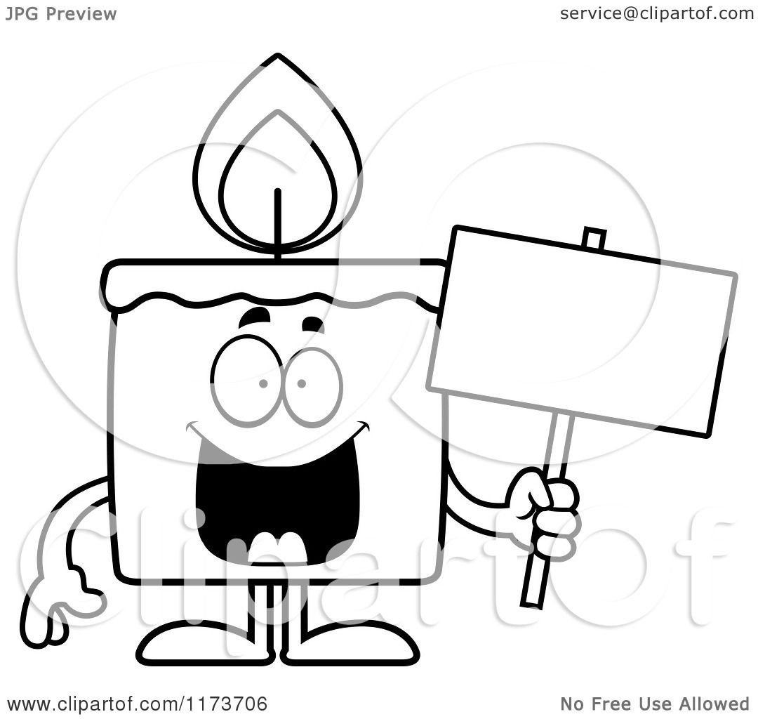 Cartoon Clipart Of A Happy Candle Mascot Holding A Sign