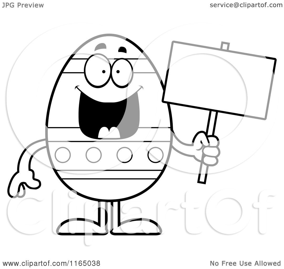 Cartoon Clipart Of A Happy Easter Egg Mascot Holding A