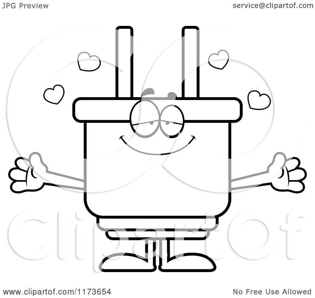 Cartoon Clipart Of A Loving Electric Plug Mascot Wanting A
