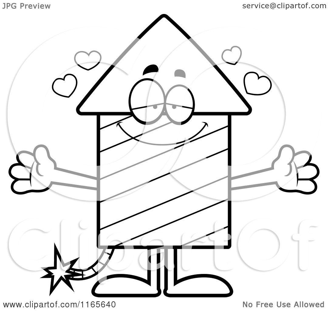 Cartoon Clipart Of A Loving Rocket Firework Mascot