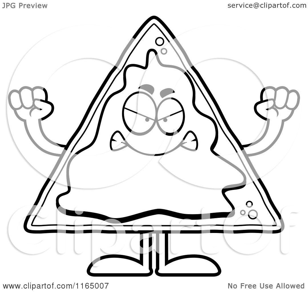 Cartoon Clipart Of A Mad Nacho Mascot