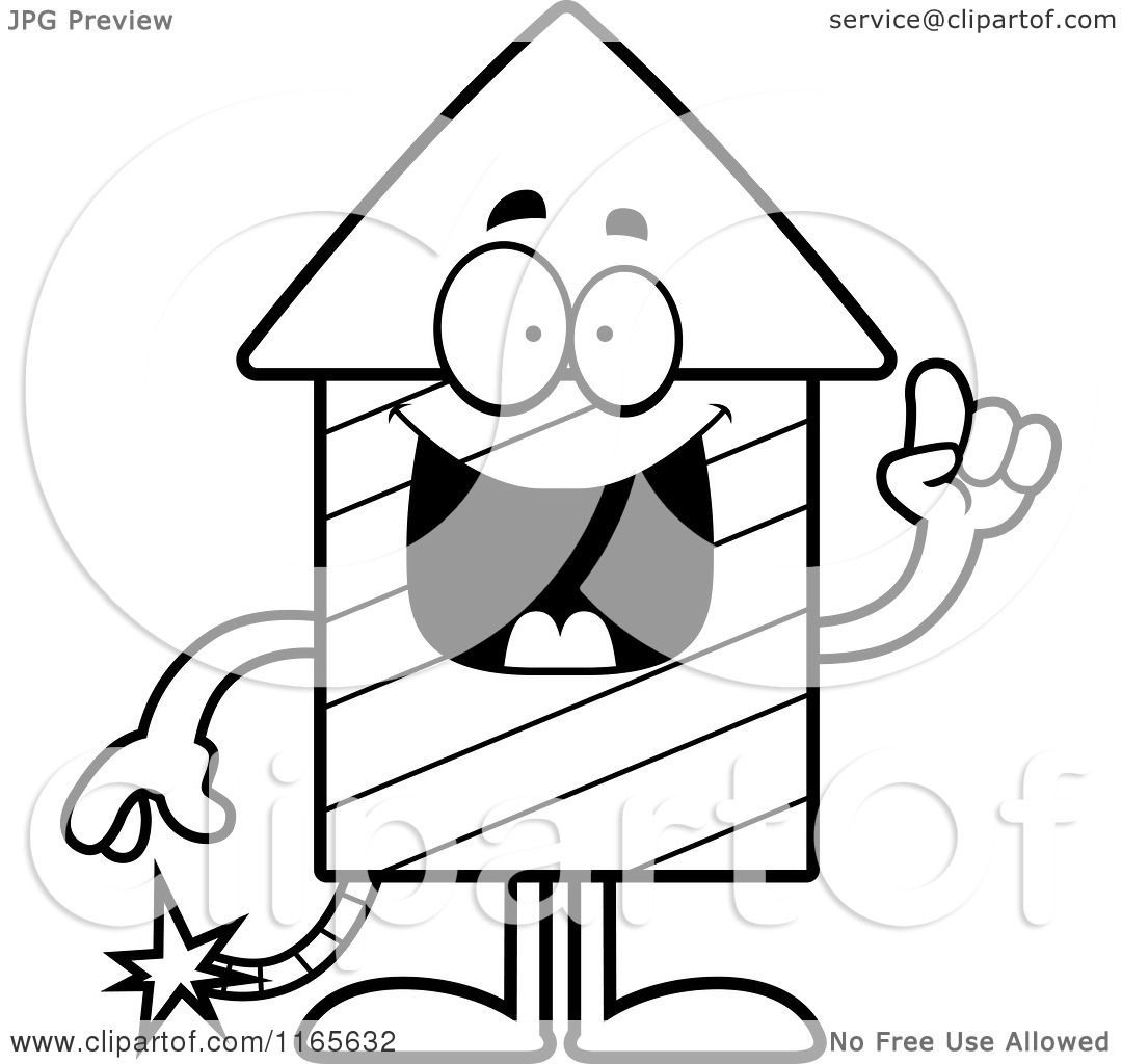 Cartoon Clipart Of A Rocket Firework Mascot With An Idea