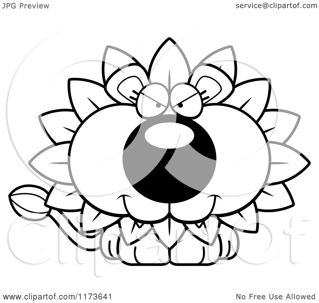 Cartoon Clipart Of A Sly Dandelion Flower Lion Mascot