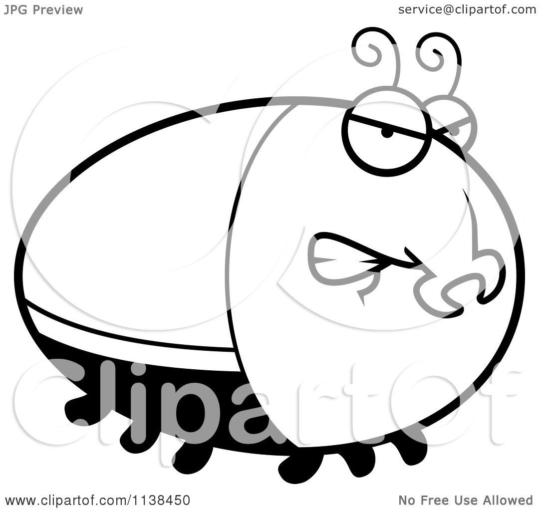Cartoon Clipart Of An Outlined Angry Beetle