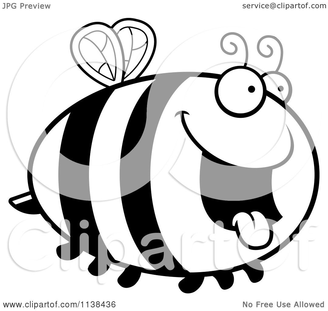 Cartoon Clipart Of An Outlined Chubby Hungry Bee