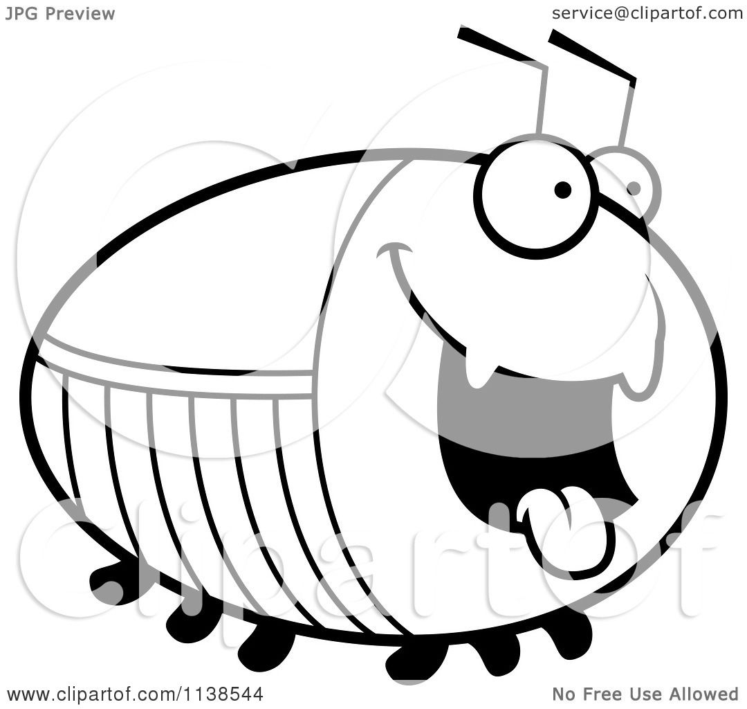 Cartoon Clipart Of An Outlined Chubby Hungry Cockroach