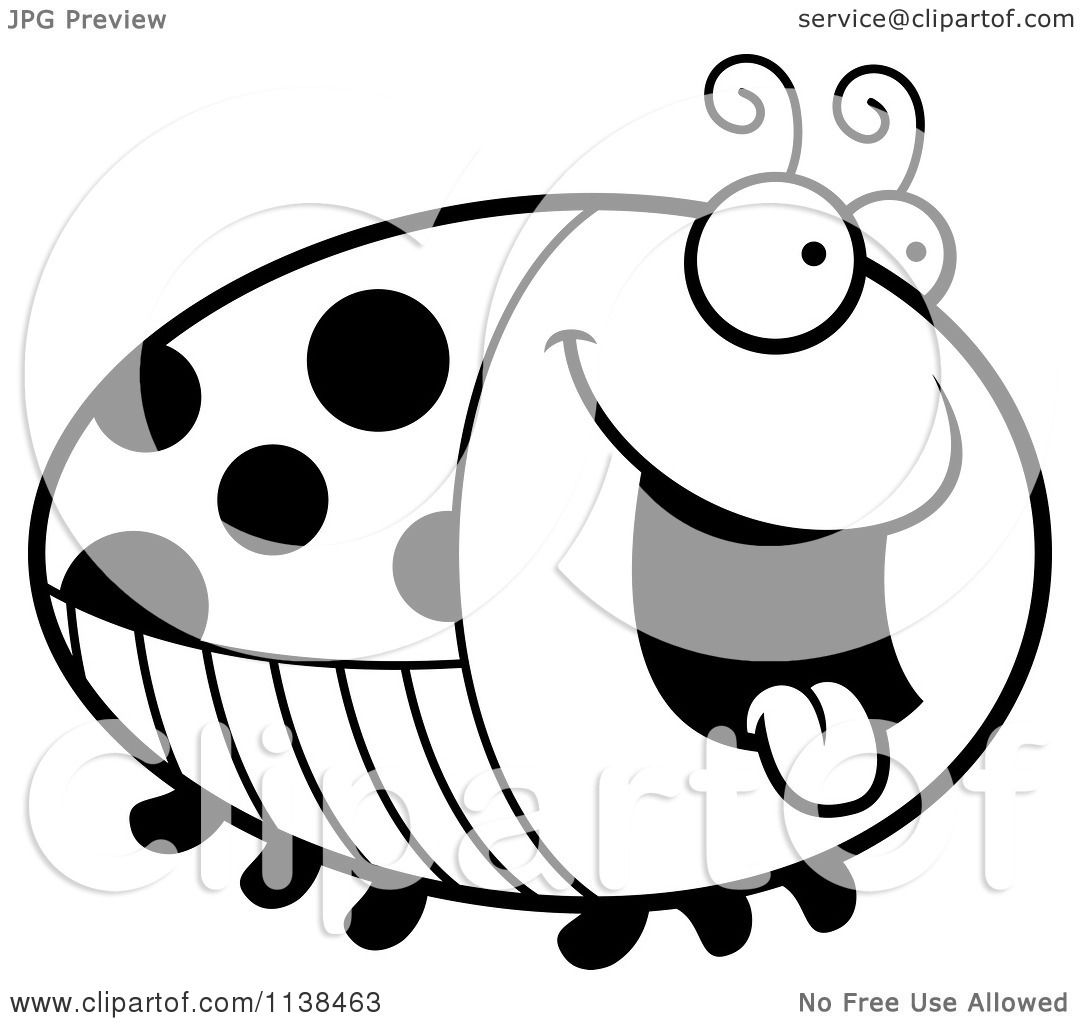 Cartoon Clipart Of An Outlined Chubby Hungry Ladybug
